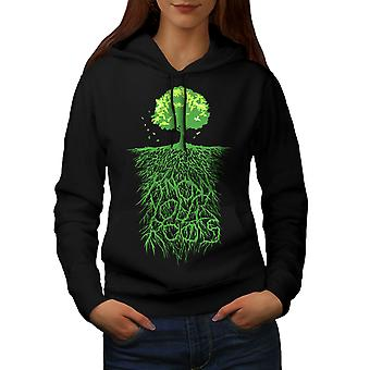 Earth Tree Roots Nature Women BlackHoodie | Wellcoda