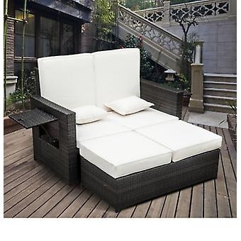 Outsunny Outdoor 2 Seater Rattan Daybed with Footstool