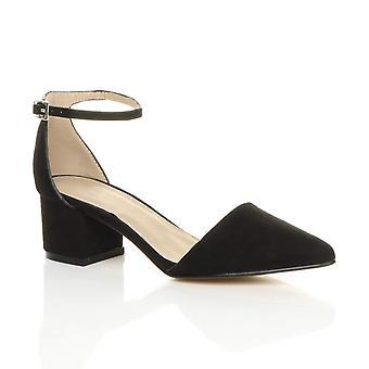 अजवानी महिला मिड ब्लॉक एड़ी टखने का पट्टा बताया काम पार्टी कोर्ट जूते सैंडल