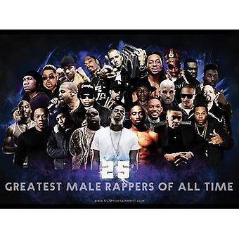 25 Greatest Male Rappers Of All Time Poster (24x18)