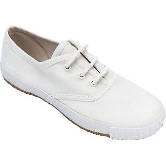 Mirak chicas Morris cordones textiles Plimsoll zapatillas zapato blanco (Med)