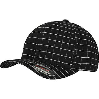Flexfit by Yupoong Mens Square Check 6 Panel Athletic Permacurve Cap