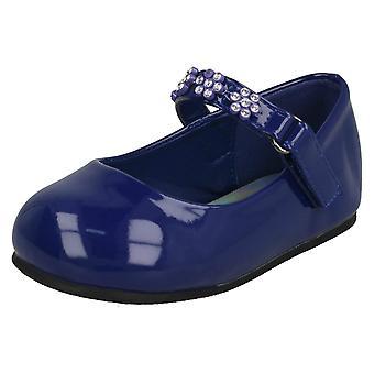 Girls Spot On Diamante Flower Strap Ballerinas H2487 - Navy Synthetic Patent - UK Size 8 - EU Size 25 - US Size 9