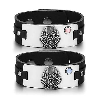 Aztekowie Celtic węzłów Wolf Paw amulety miłość różowy niebieski koty symulowanych oczu czarne skórzane bransoletki