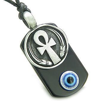 Ankh ägyptische Kraft des Lebens Amulett spirituelle bösen Blick Schutz Kräfte Onyx Anhänger Halskette