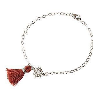 Gemshine kvinders armbånd 925 sølv Lotus blomst kvast rød brun YOGA
