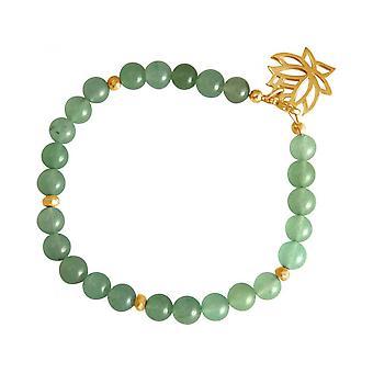 Aventurine - green - YOGA women - bracelet - 925 Silver - gold plated - Lotus Flower-