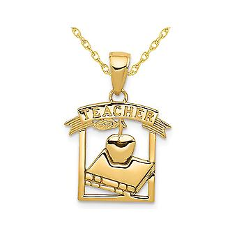 Teacher Apple and Book Charm Pendant Necklace in 14K Yellow Gold with Chain
