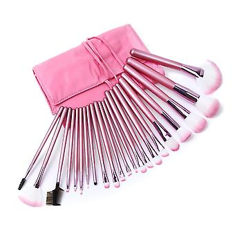 22 Make Up  Brushes Set - Synthetic Hair Aluminium Ferrule Natural Wood Handle - Pink Leather Bag