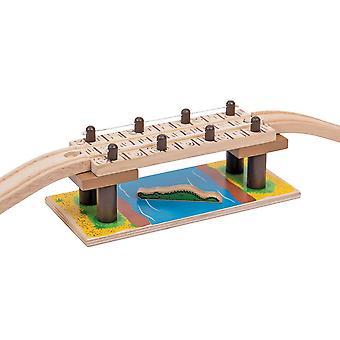 Bigjigs dřevěné železnice Safari provazový most