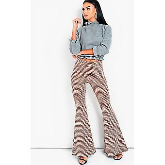 IKRUSH Womens Cindy High Taille gedruckt Flare Hose