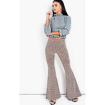 IKRUSH Womens Cindy High Waist stampato pantaloni a zampa