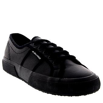 Womens Superga 2750 Ukfglu Low Top Leather Black Lace Up Plimsoll Trainer