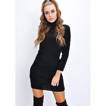 Rullekravesweater Strik Bodycon Jumper kjole sort