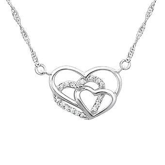 ثلاثية القلب-925 فضة جولد قلادات-W23195x