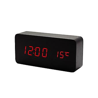 Digital LED Alarm Clock in wood design-black/red