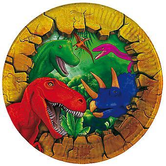 Diametro di partito piatto piatto piatto dinosauro Dino festa compleanno 18 cm, 6 pz