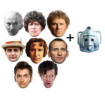 The Doctors - Doctor Who 50th Anniversary Card Fancy Dress Masks set of 9 (includes bonus Classic Cyberman mask)