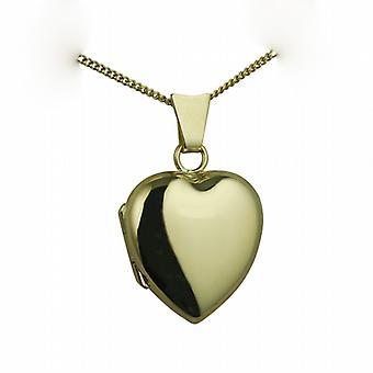 18ct guld 17x16mm plain hjerteformet medaljon med en bremse kæde 20 inches