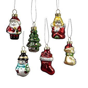 Sass och Belle Diverse Retro glas julgranskulor
