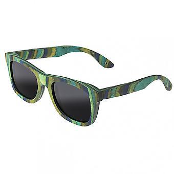 Spectrum Kalama Wood Polarized Sunglasses - Green Stripe/Black