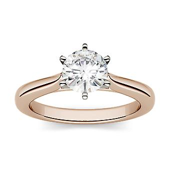14 K oro rosa Moissanite por Charles & Colvard 6,5 mm ronda anillo de compromiso, rocío de 1,00 ct