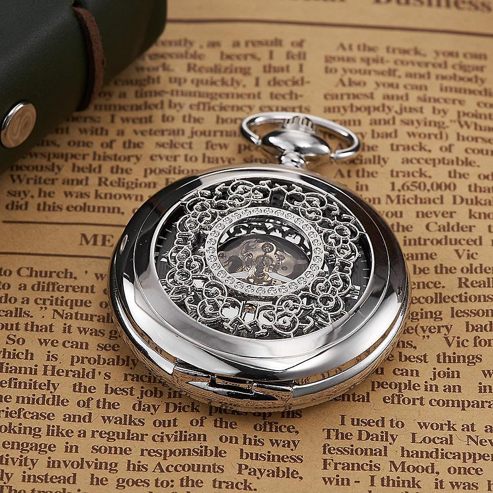 Silver case & matching face pocket watch fob & chain