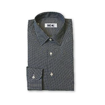 Ingram shirt in dark navy and white cross pattern