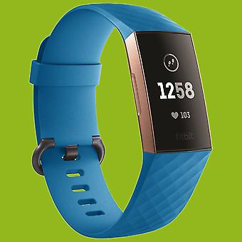 Para Fitbit Charge 3 pulsera plástica/silicona para mujer/tamaño S Blue Watch