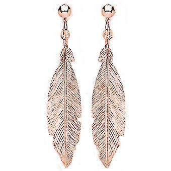 Bella Single Feather Drop Earrings - Rose Gold