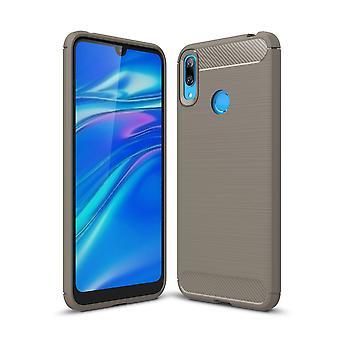 Huawei Y7 2019 TPU caso in fibra di carbonio ottica spazzolato custodia di protezione grigio