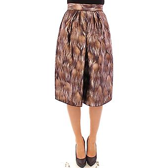 Brown floral silk straight full skirt
