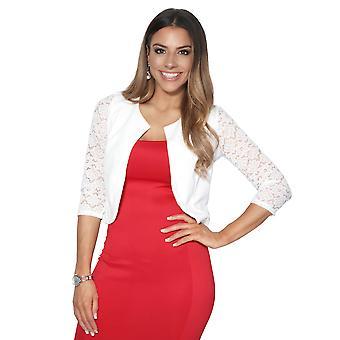KRISP Womens Ladies 3/4 Lace Sleeve Cropped Evening Shrug Bolero Top Cardigan Jacket