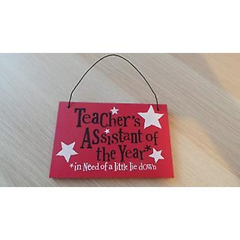 Bright Side Teacher's Assistant of the Year Hanging Wooden Plaque