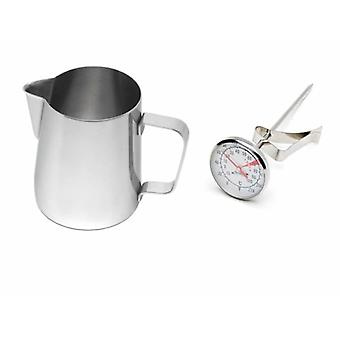 Kabalo Stainless Steel Milk Coffee Cappuccino Latte Frothing Jug 600ml with Thermometer