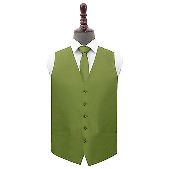 Olive Green Plain Shantung Wedding Waistcoat & Tie Set