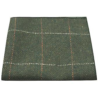 Luxury Herringbone Forest Green Tweed Pocket Square, Handkerchief
