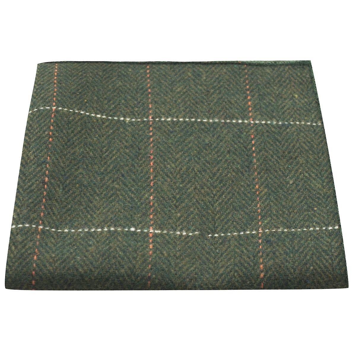 Luxury Herringbone Forest Green Tweed Pocket Square, Handkerchief