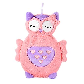 Slumberz 750ml 3D Owl Hot Water Bottles With Soft Plush Cover, Various Colours