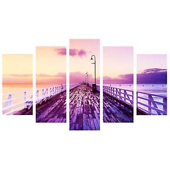 Wellindal 5 Pieces Pyramid Canvas Print Purple Pier