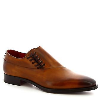 Leonardo sko menn ' s håndlaget smarte sko i delave Sienna kalv Lær
