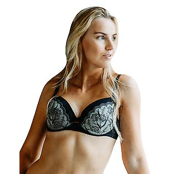 Guy de France 1828-5 Women's Black Floral Embroidered Underwired Padded Bra