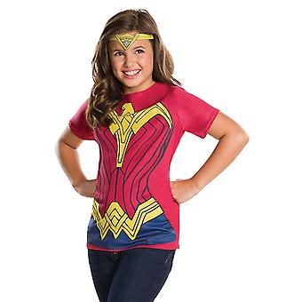 Wonder Woman Youth Costume Tee Shirt With Crown