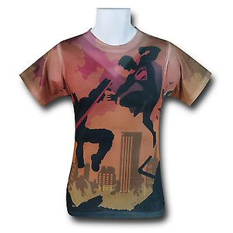 Batman vs Superman Shadow Fight sublimeret T-shirt