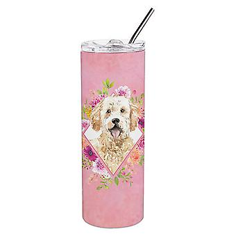 Goldendoodle Pink Flowers Double Walled Stainless Steel 20 oz Skinny Tumbler