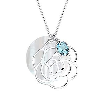 Elli Necklace with Silver Woman Pendant 925 with Blue Topazio - 70 cm