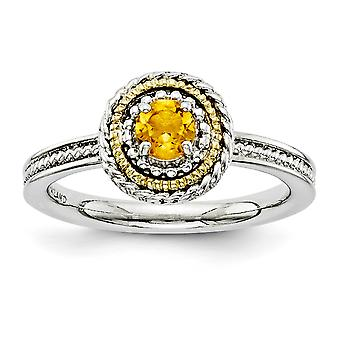 2.25mm 925 Sterling Silver Polished Prong set and 14k Stackable Expressions 925 Sterling Silver Citrine Ring Jewelry Gif