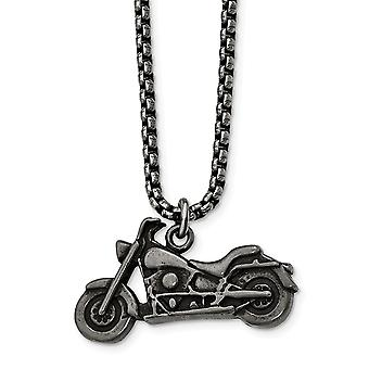 Stainless Steel Antiqued Motorcycle Necklace - 25.5 Inch