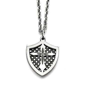 Stainless Steel Engravable Fancy Lobster Closure Ip Black Plated Moveable Shield Pendant Necklace 22 Inch Jewelry Gifts