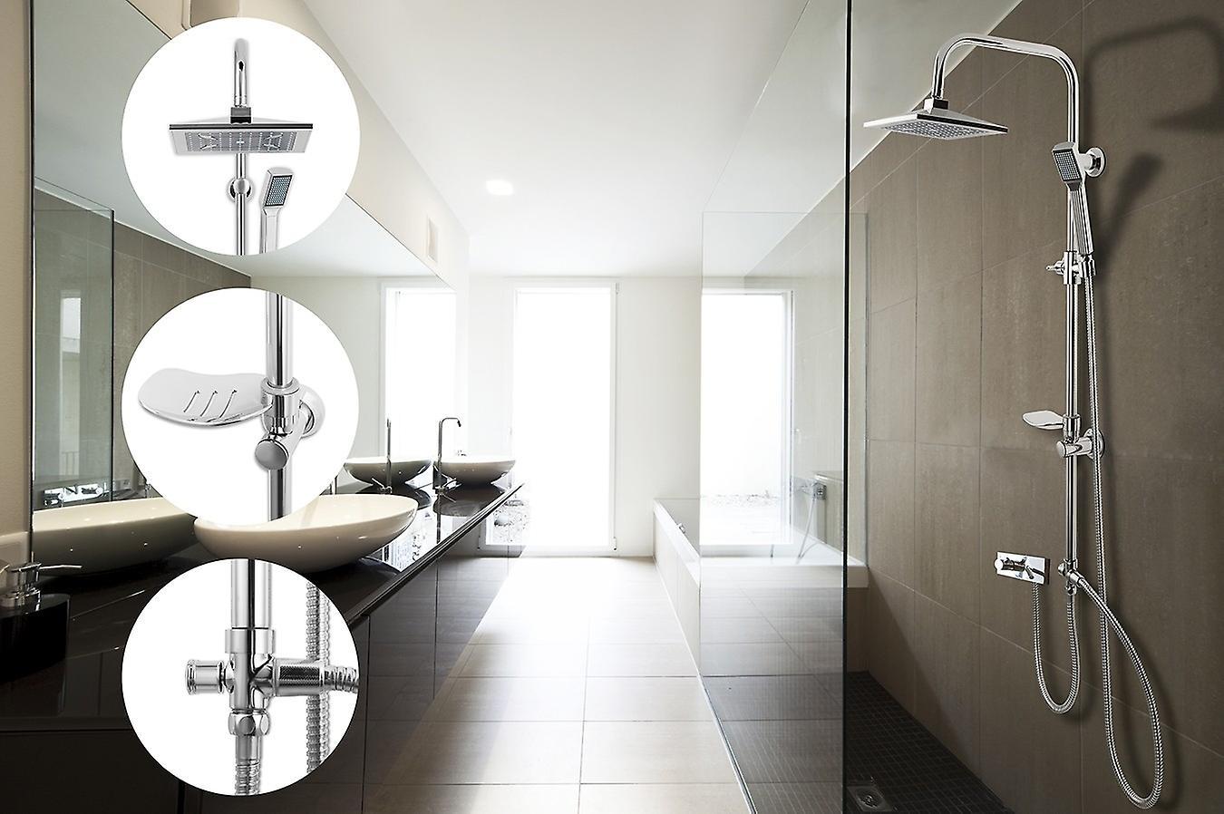 LIFA LIVING Rain Shower Shower Set, Shower Set Overhead Shower, Shower Rod 96cm, Head Shower, Complete Shower, Shower Shower RVS, Chrome Look